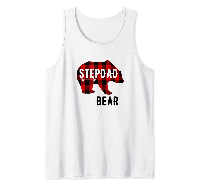 Mens Stepdad Bear Buffalo Plaid Bear with Arrow Graphics Tank Top