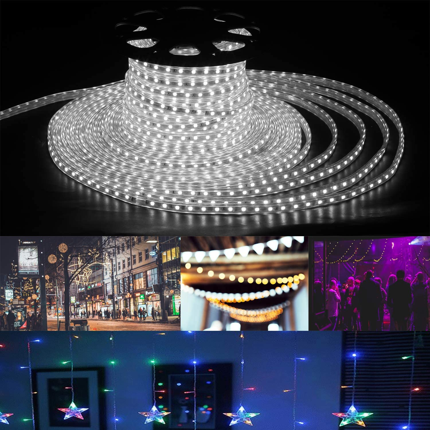 OVASTLKUY 150FT LED Strip Lights, LED Rope Lights SMD5050 with 2700 for for Indoor Wedding Christmas Party (Cold White)