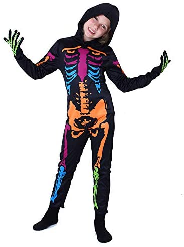LMYOVE Kids Skeleton Costume Glow in The Dark, Halloween Jumpsuit with Hooded Gloves for Boys&Girls