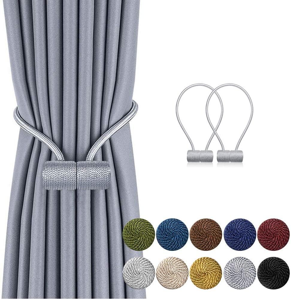 DCLYSI 2 Pack Magnetic Curtain Tiebacks,16 Inch Decorative Curtain Holdbacks for Window Décor