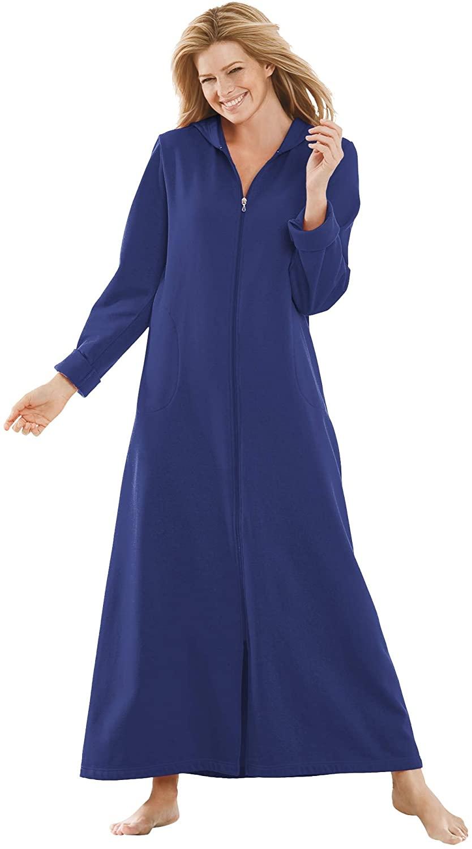 Dreams & Co. Women's Plus Size Hooded Fleece Robe - 2X, Ultra Blue