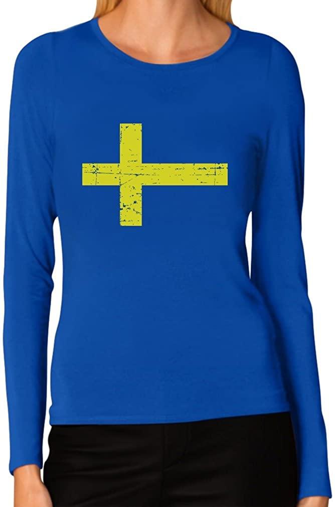 TeeStars - Vintage Sweden Flag Retro Style Swedish Women Long Sleeve T-Shirt