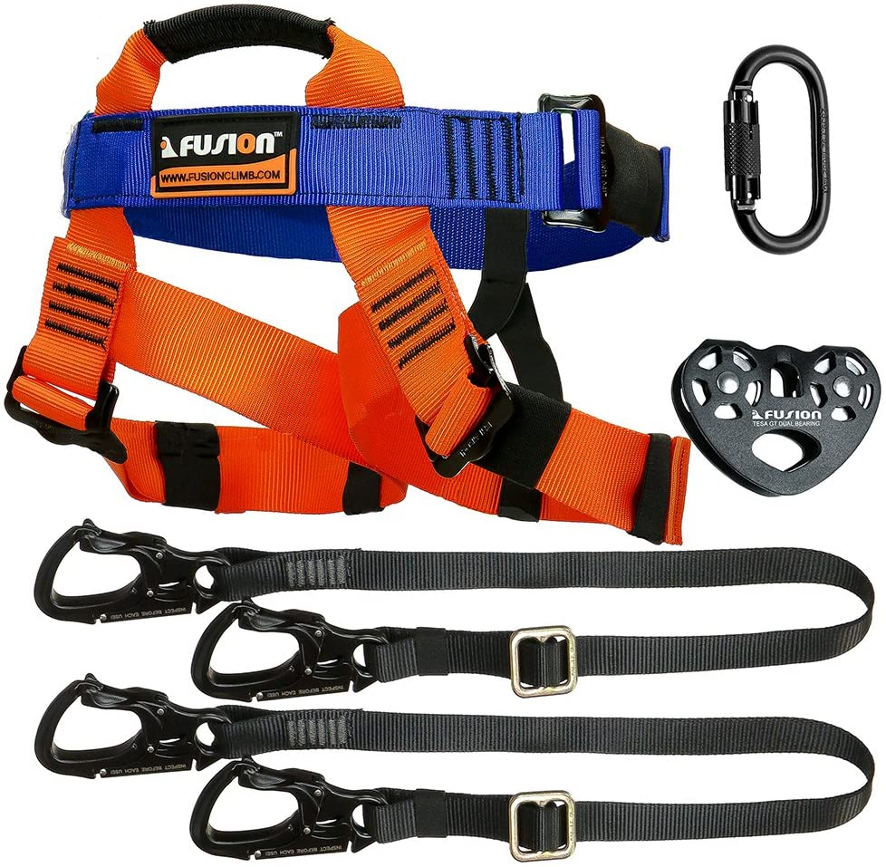 Fusion Climb Tactical Edition Kids Commercial Zip Line Kit Harness/Dual Lanyard/Carabiner/Trolley Bundle FTK-K-HLLCT-01