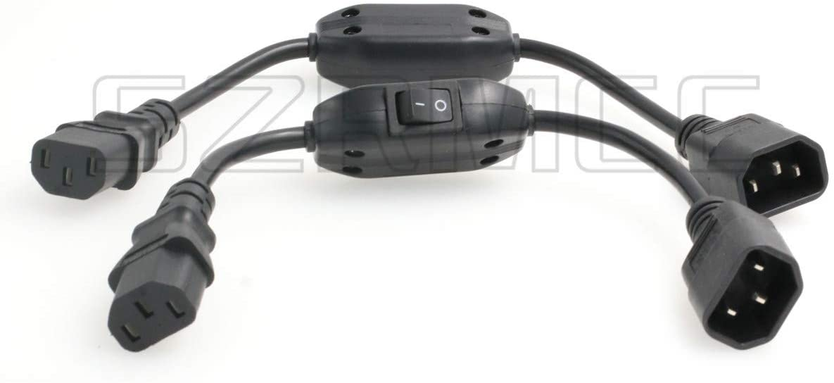 SZRMCC IEC 320 C14 to C13 Male to Female Extension Power Cord Cable with On Off Switch,C14 to C13 Power Cable (2pcs)