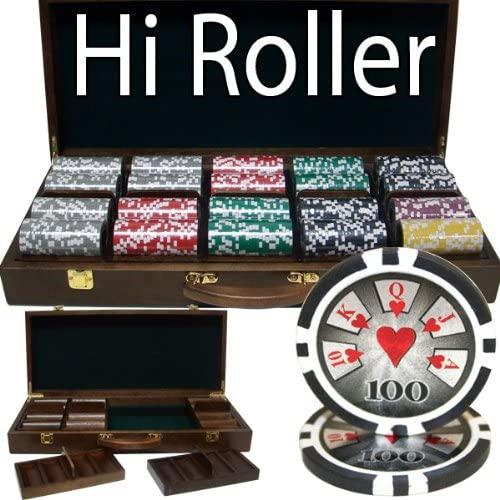 Brybelly 500 Ct Hi Roller 14 Gram Poker Chip Set w/Walnut Wooden Case