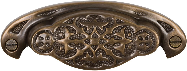 Brass Elegans BE-37AB Vintage Design Newcastle Series Solid Brass Bin Pull, Antique Brass Finish