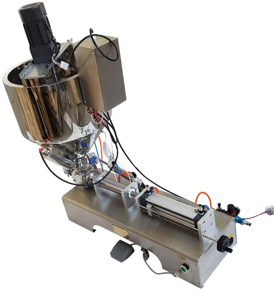 INTBUYING 110V 5-50ml Paste Liquid Heating Mixing Filling Machine with Vertical Stirring Hopper for Cream Shampoo Honey Toothpaste Oil Sauce Butter