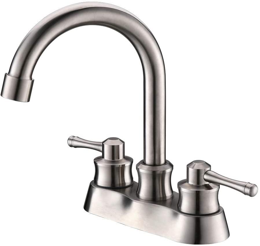 TEEKIA Bathroom Sink Faucet 4 Inch Centerset, Lead-Free Vanity Faucet Brushed Nickel, Bathroom Faucet 3 Hole