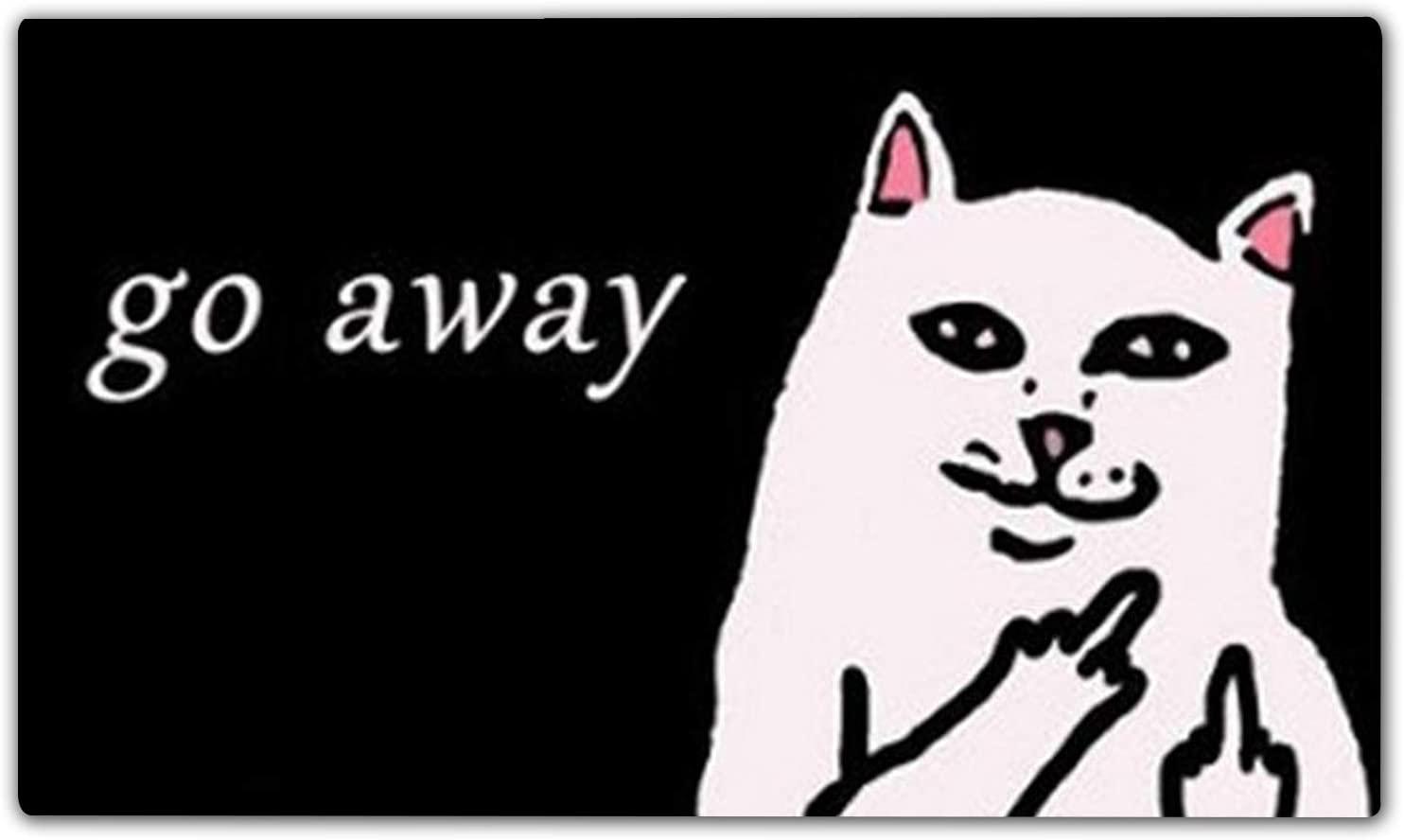 Funny Outdoor Door mat White Cat Go Away Entrance Front Doormat Rug Cover House Doormat Non Slip Rubber Kitchen Rugs (L17.7
