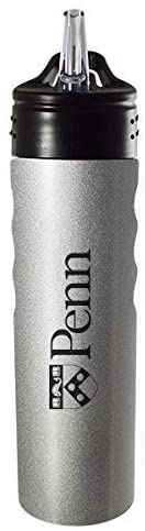 LXG, Inc. University of Pennsylvania-24oz. Stainless Steel Grip Water Bottle with Straw-Silver