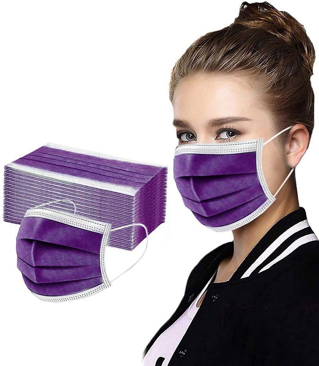 AIHOU 50Pcs Disposable Face Mask Breathable Comfortable 3 Ply Earloop Nose Bridge Protective Cloth Masks Outdoor Office Work Home Travel