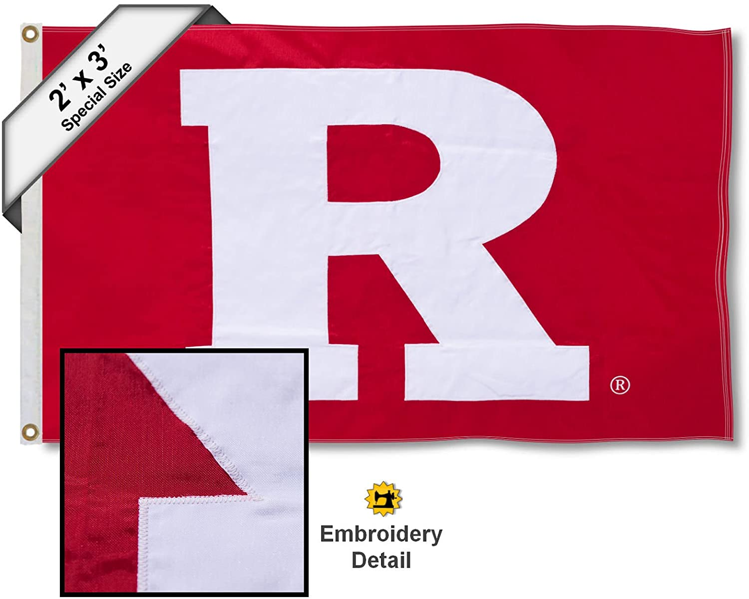 College Flags & Banners Co. Rutgers Scarlet Knights 2x3 Foot Embroidered Flag