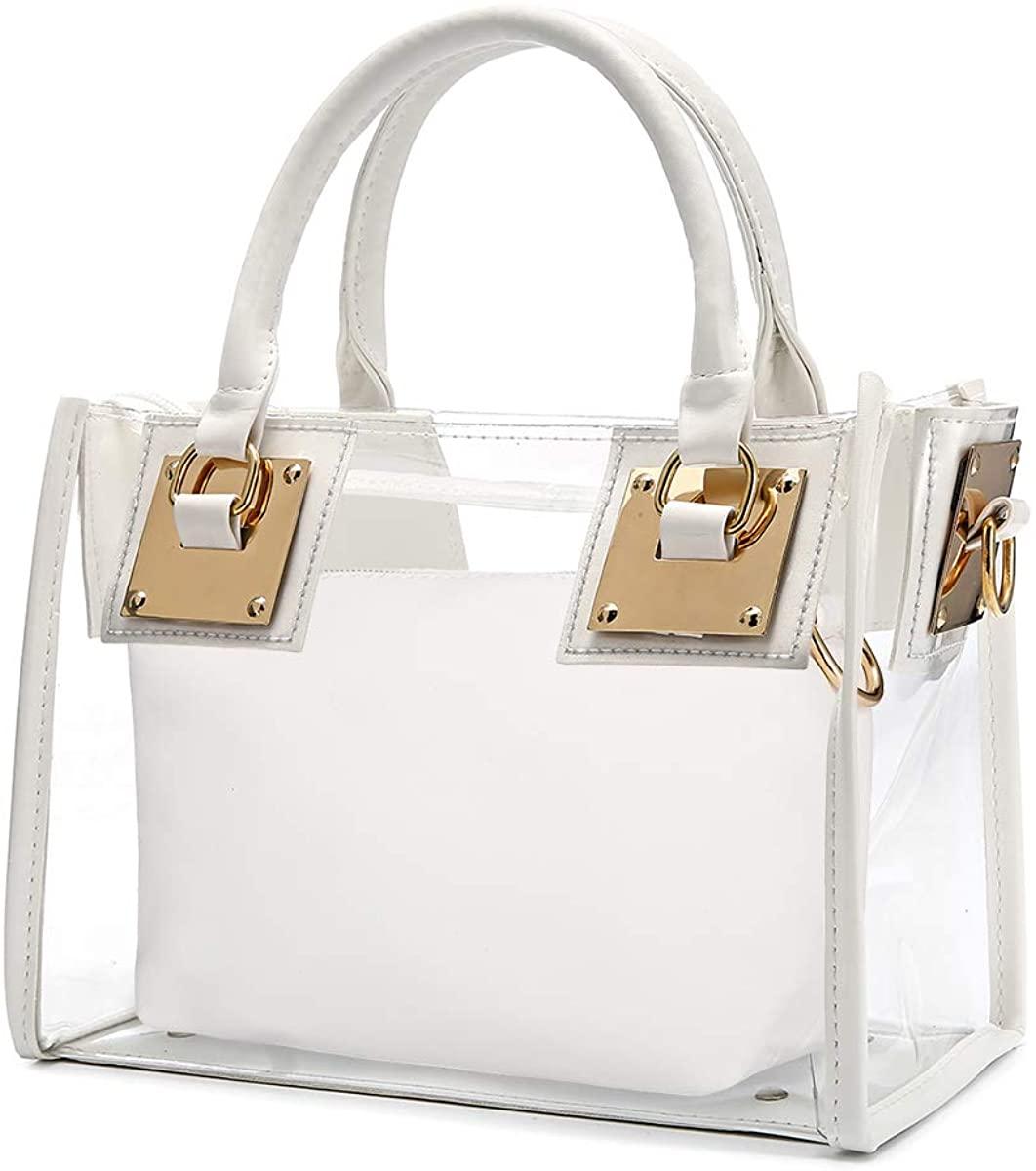 Clear Crossbody Handbags, OURBAG Fashion Women's Waterproof Clear Handbag Top Handle Shoulder Bag Transparent Purse