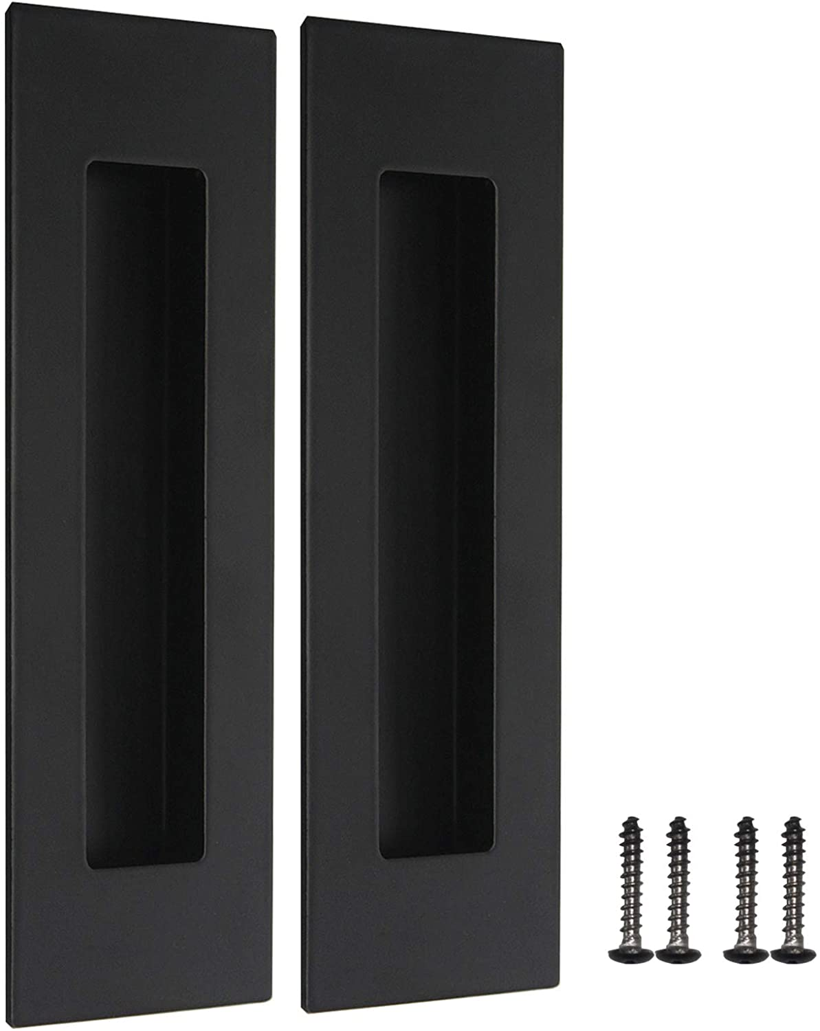 """2 Pack Black Recessed Door Pull Stainless Steel Recessed Finger Pulls Rectangular Flush Pocket Door Pull 6"""" Outer Length 2"""" Outer Width"""