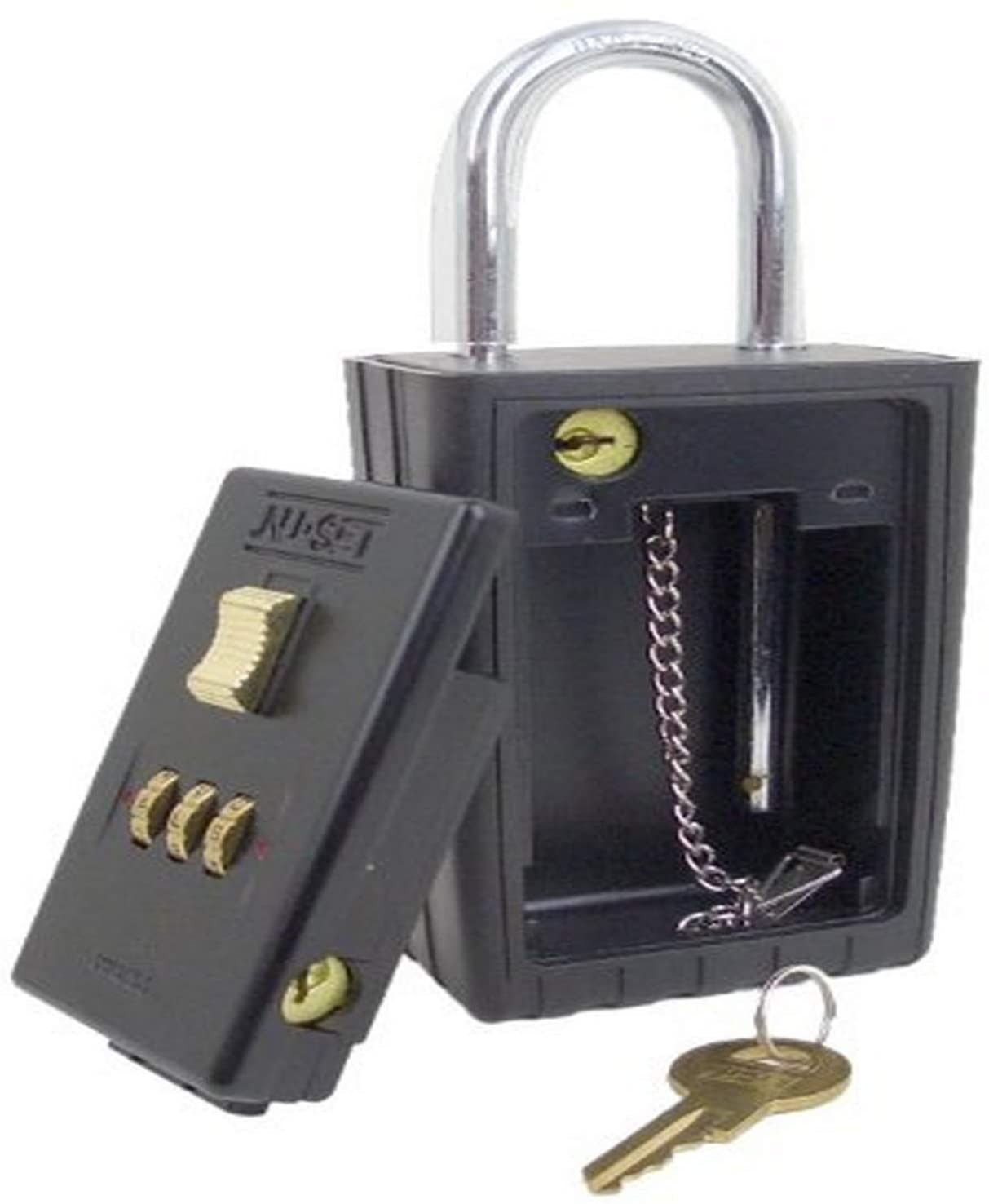 NU-SET 2021S-3 3-Letter Combination Lock Box with Keyed Shackle and Self Scramble Dials