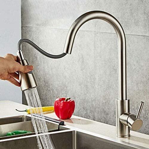 LYNICESHOP Kitchen Sink Faucet with Pull Down Sprayer, Solid Brass Single Handle High Arc Brushed Nickel Pull Out Kitchen Faucet with 1/2