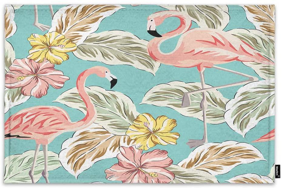 Moslion Flamingo Door Mat Animal Vintage Summer Tropical Exotic Plants Floral Hibiscus Leaves Non Slip Funny Doormat for Outdoor Indoor Decor Entry Rug Kitchen Bedroom Mat 15.7 x 23.6 Inch