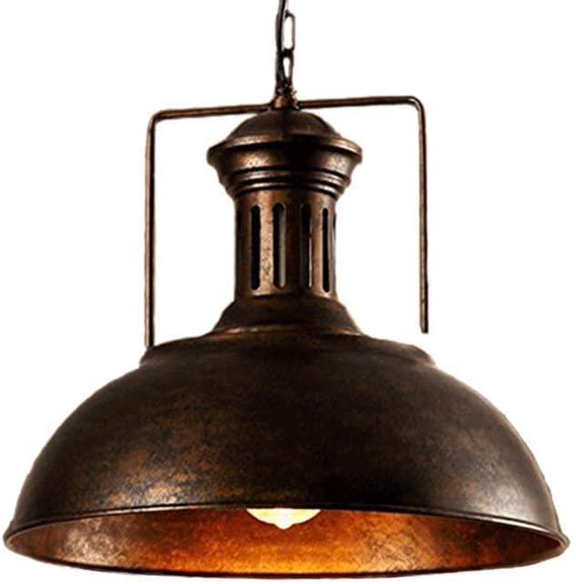 Pendant Light Fixtures Ceiling Hanging Lights with Vintage Industrial Metal Lampshade (Rust)