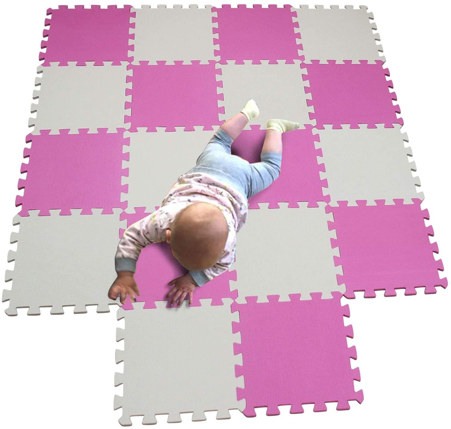 MQIAOHAM Children Puzzle mat Play mat Squares Play mat Tiles Baby mats for Floor Puzzle mat Soft Play mats Girl playmat Carpet Interlocking Foam Floor mats for Baby White Pink 101103
