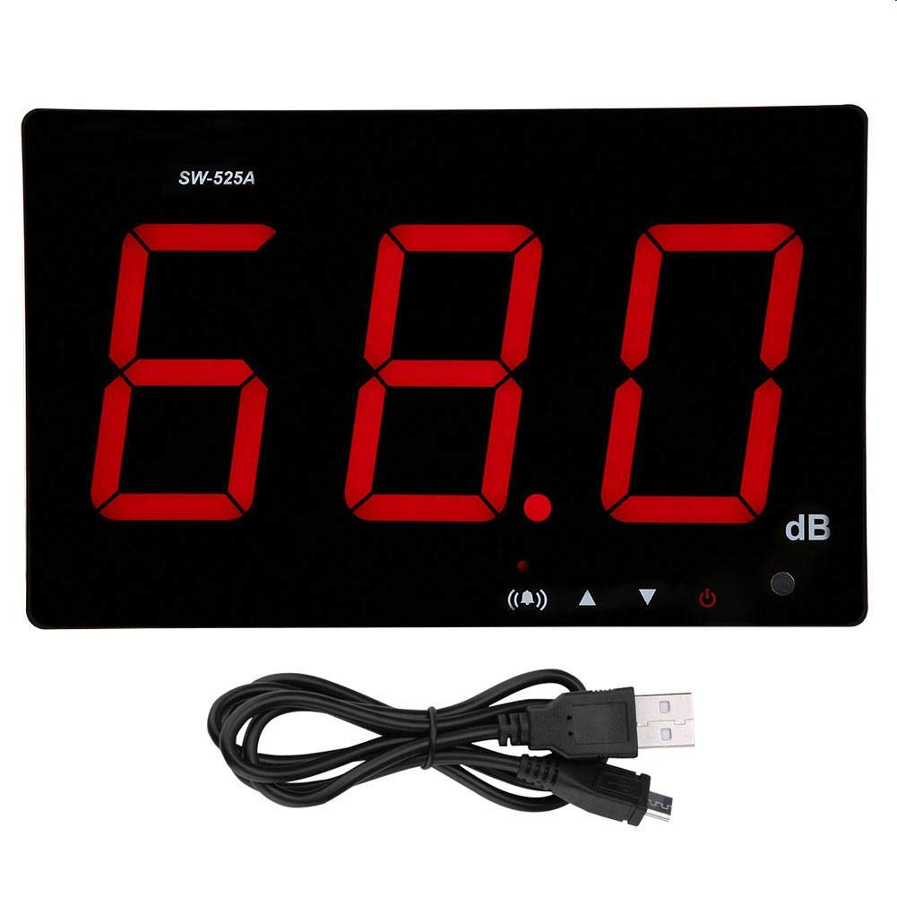Decibel Meter, SW-525A LCD Digital Sound Level Meter, 30-130dB(A) Wall Mounted DB Meter USB Environmental Noise Tester