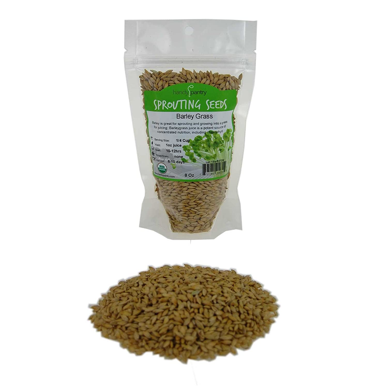 Handy Pantry Organic Barley Seeds - 8 Oz - Whole (Hull Intact) Barleygrass Seed - Ornamental Barley Grass, Juicing - Grain for Beer Making, Emergency Food Storage & More
