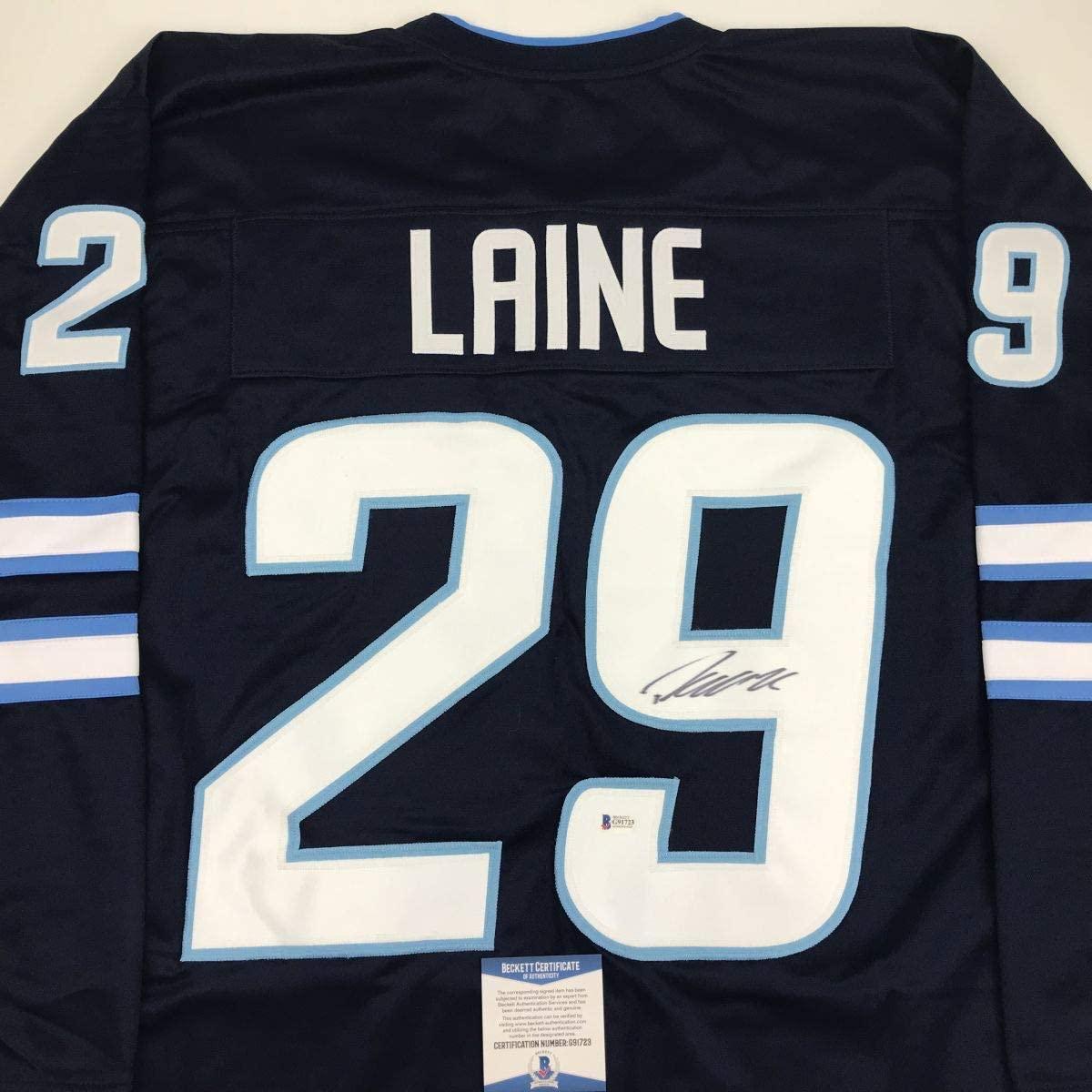 Autographed/Signed Patrik Laine Winnipeg Blue Hockey Jersey Beckett BAS COA