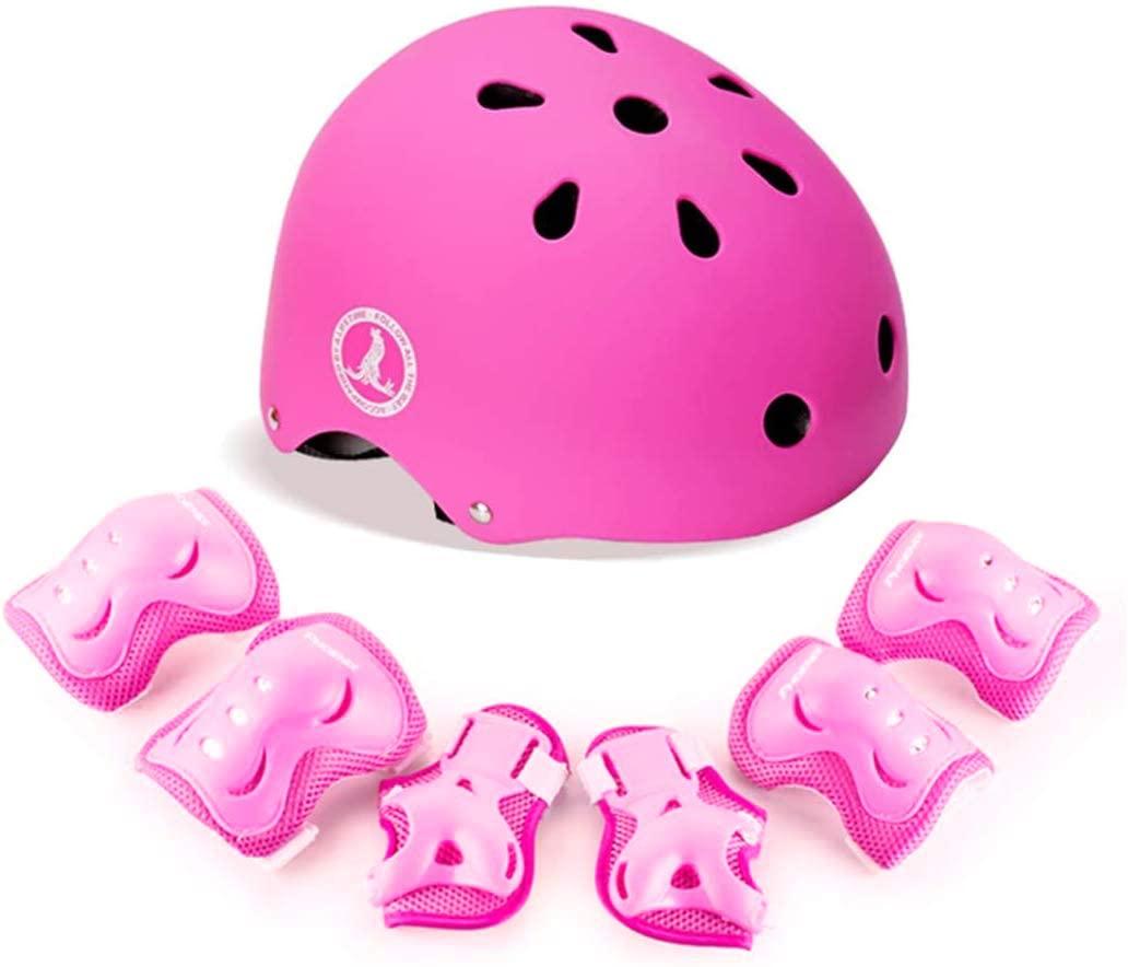 PHOENIX Kids Adjustable Helmet 3-8 Years Toddler Boys Girls, Sports Protective Gear Bike Bicycle Skateboard Scooter Rollerblading (Knee+Elbow+Wrist+Helmet)