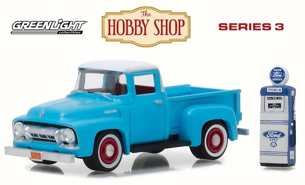 Greenlight 1954 Ford F-100 with Vintage Ford Motor Company Gas Pump, Light Blue 97030A/48 - 1/64 Scale Diecast Model Toy Car
