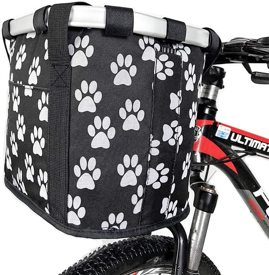 Qiuhome Bike Front Basket,Small Dog Cat Carrier Basket,Folding Removable Bicycle Handlebar Basket for Shopping/Picnic