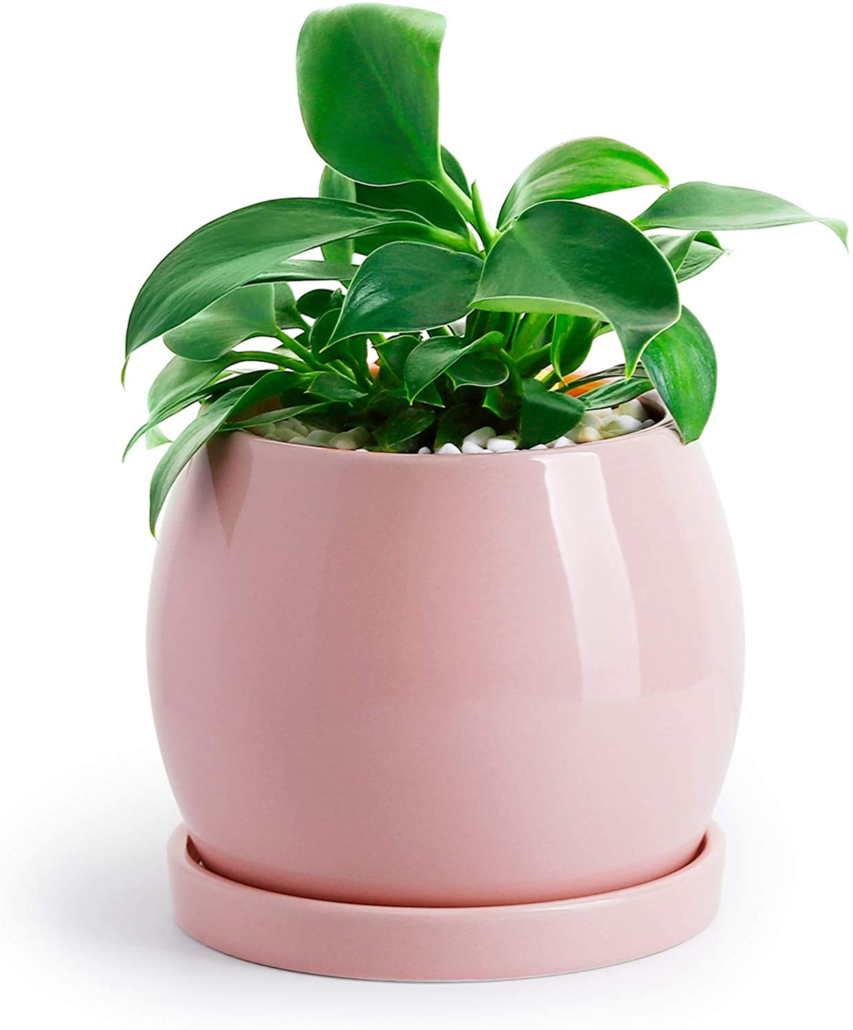 """POTEY Ceramic Planter Flower Plant Pot - 5.1"""" with Drain Hole Saucer-Enough Space - Modern Decorative for Indoor Planters-Light Pink"""