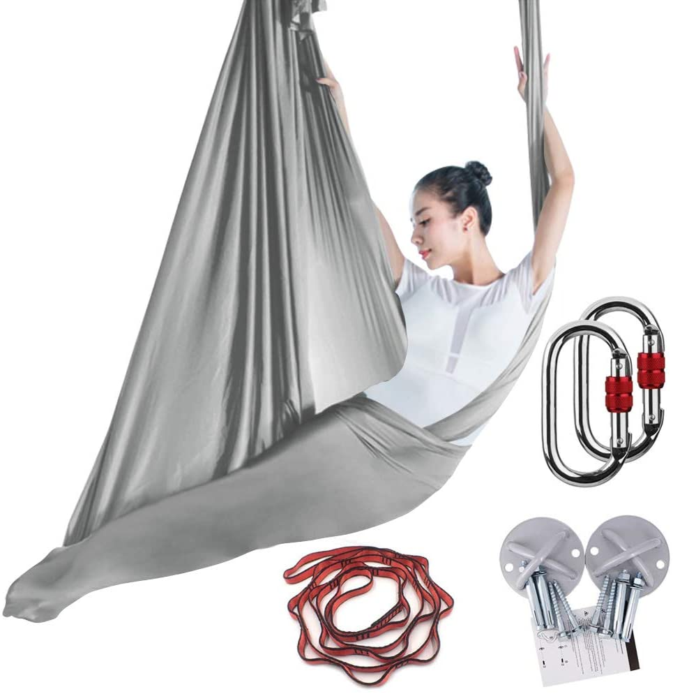 KIKIGOAL 5M Yoga Pilates Aerial Silk Kit Yoga Swing Aerial Yoga Antigravity Hammock Trapeze Silk Fabric for Yoga Strap Bodybuilding