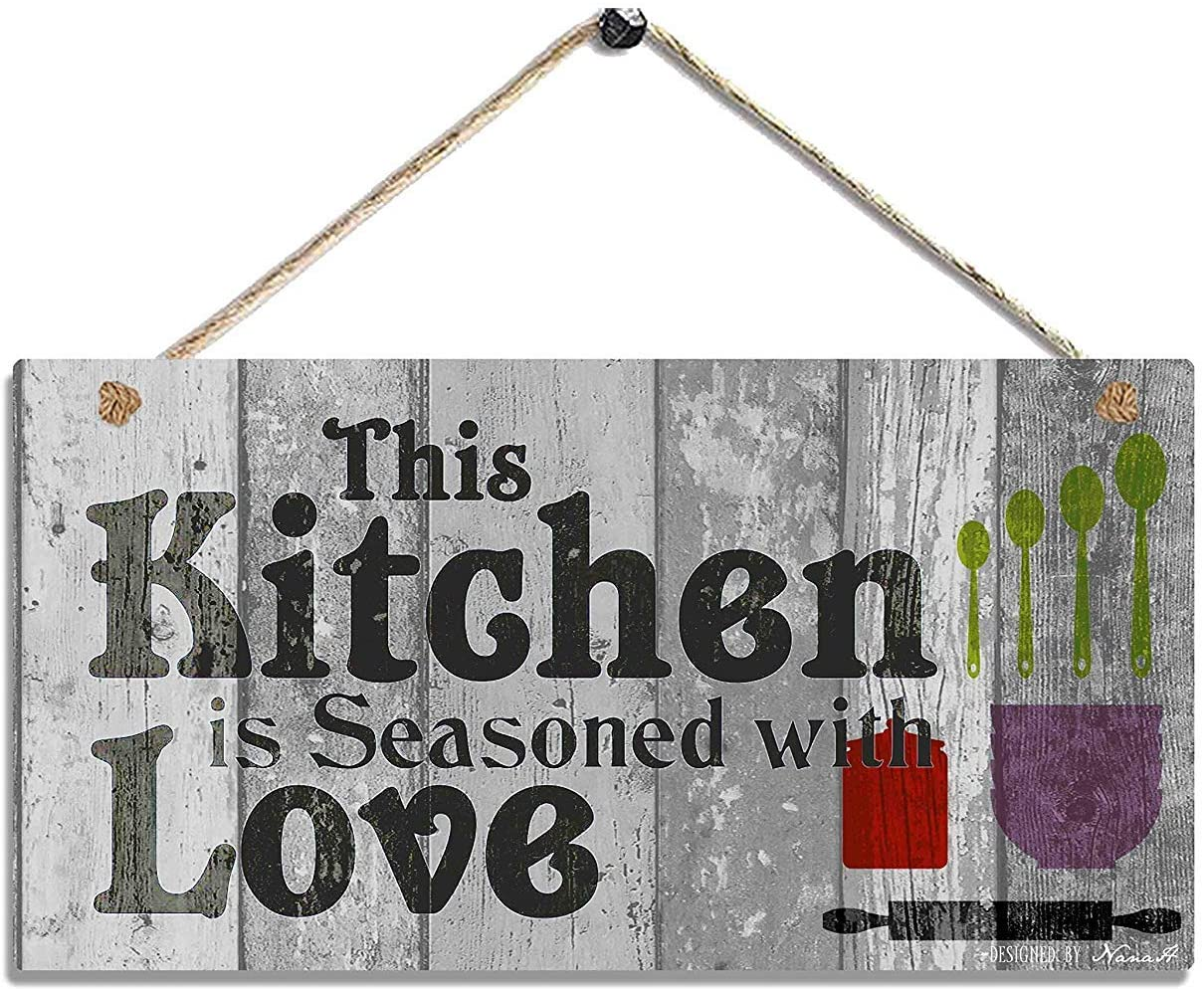 Hty This Kitchen is Seasoned with Love-Rustic Wood Wall Hanging Decor Sign Size 10x5(25x12.5 cm)