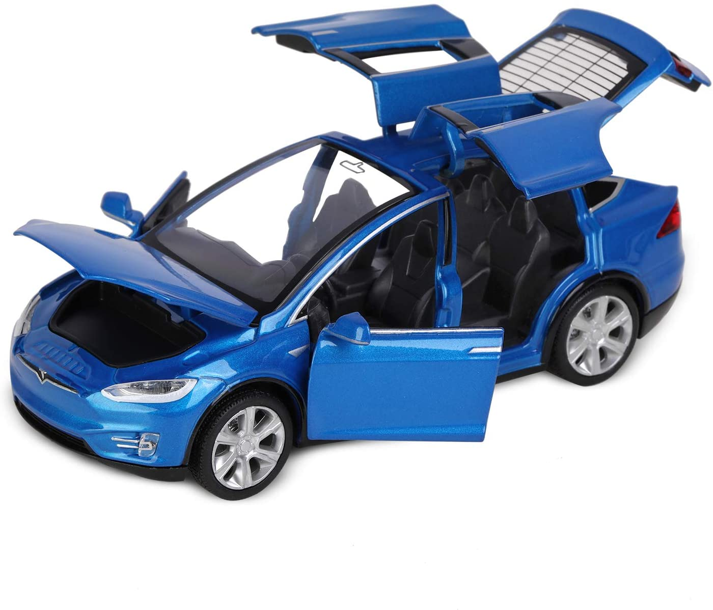 1:32 Scale Model, Tesila Model X90 Diecast Car Toys for Kids, Pull Back Alloy Collectible Vehicle Toy Door Opening with Lights and Music, Birthday Gift for Boys Toddlers (6