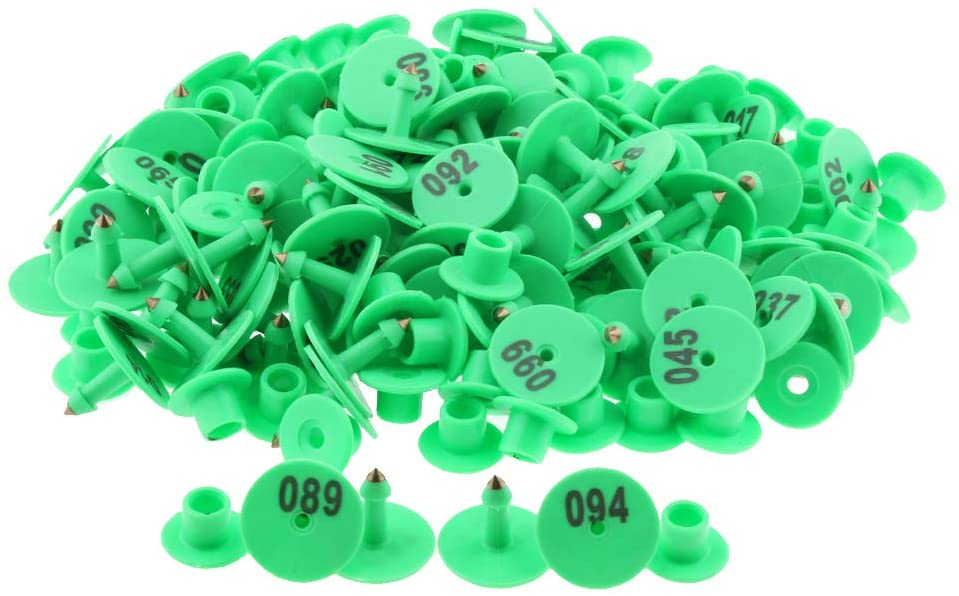 Baosity 100PCS Small Numbered Livestock Ear Tag for Pig Cow Cattle Goat Sheep - Green