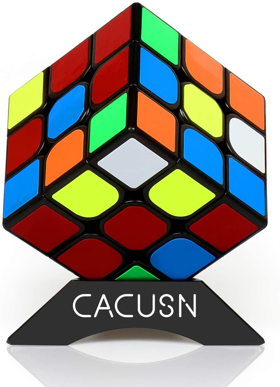 CACUSN Speed Cube 3x3   Anti-Pop Structure and Tension Adjustable   3x3 Stickers Puzzle Cube with Cube Stand   Basic Edition