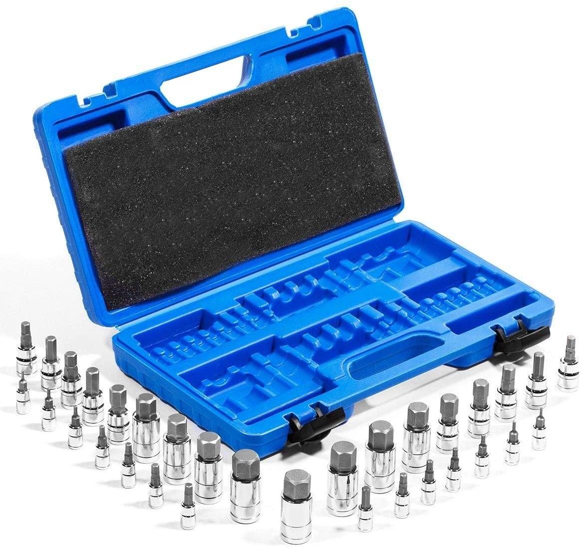 Stark 32-PCS Master Hex Bit Socket Set S2 Steel SAE And Metric Allen Socket Bit, 5/64-inch to 3/4-inch, 2mm to 19mm Socket Tool Kit