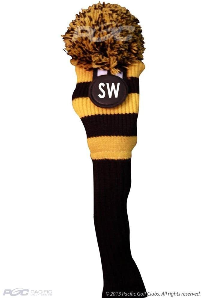 Majek Sand Wedge (SW) Hybrid Rescue Utility Black & Yellow Golf Headcover Knit Pom Pom Retro Classic Vintage Head Cover