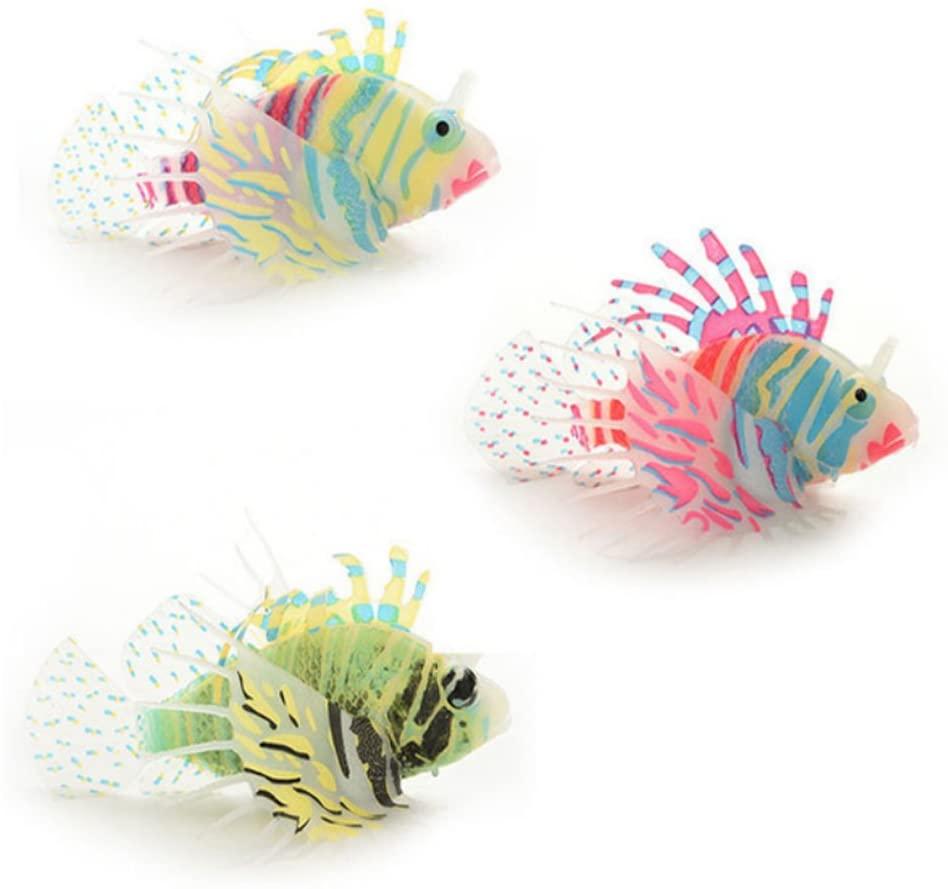 PIXNOR Artificial Lionfish Snailfish for Aquarium Fish Tank Decoration 3piece