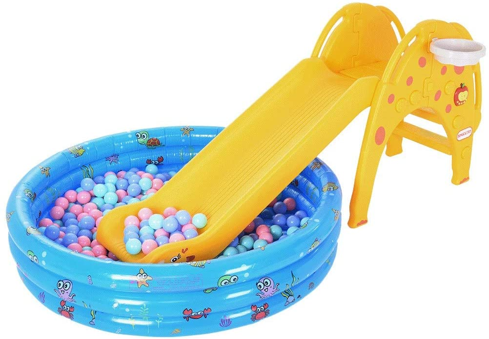 Pool with Slide for Kids, Toddler Plastic Slide with Ocean Ball Pit, Music Player and Basketball Hoop, Children Playground Slipping Slide Climber for Indoor Outdoors, 300 pcs Ocean Balls
