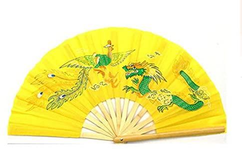 Apint Bamboo Fan Mascot Dragon Phoenix Design Chinese Kung Fu Martial Tai Chi Yellow