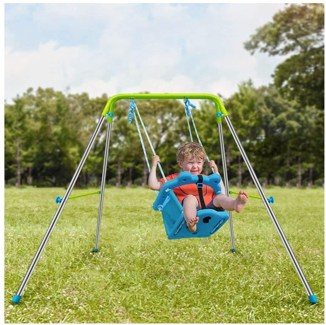 Erwazi Toddler Swing, Infant Swing Outdoor, Baby Swings Set High Back Seat with Safety Belt for Infants for Backyard