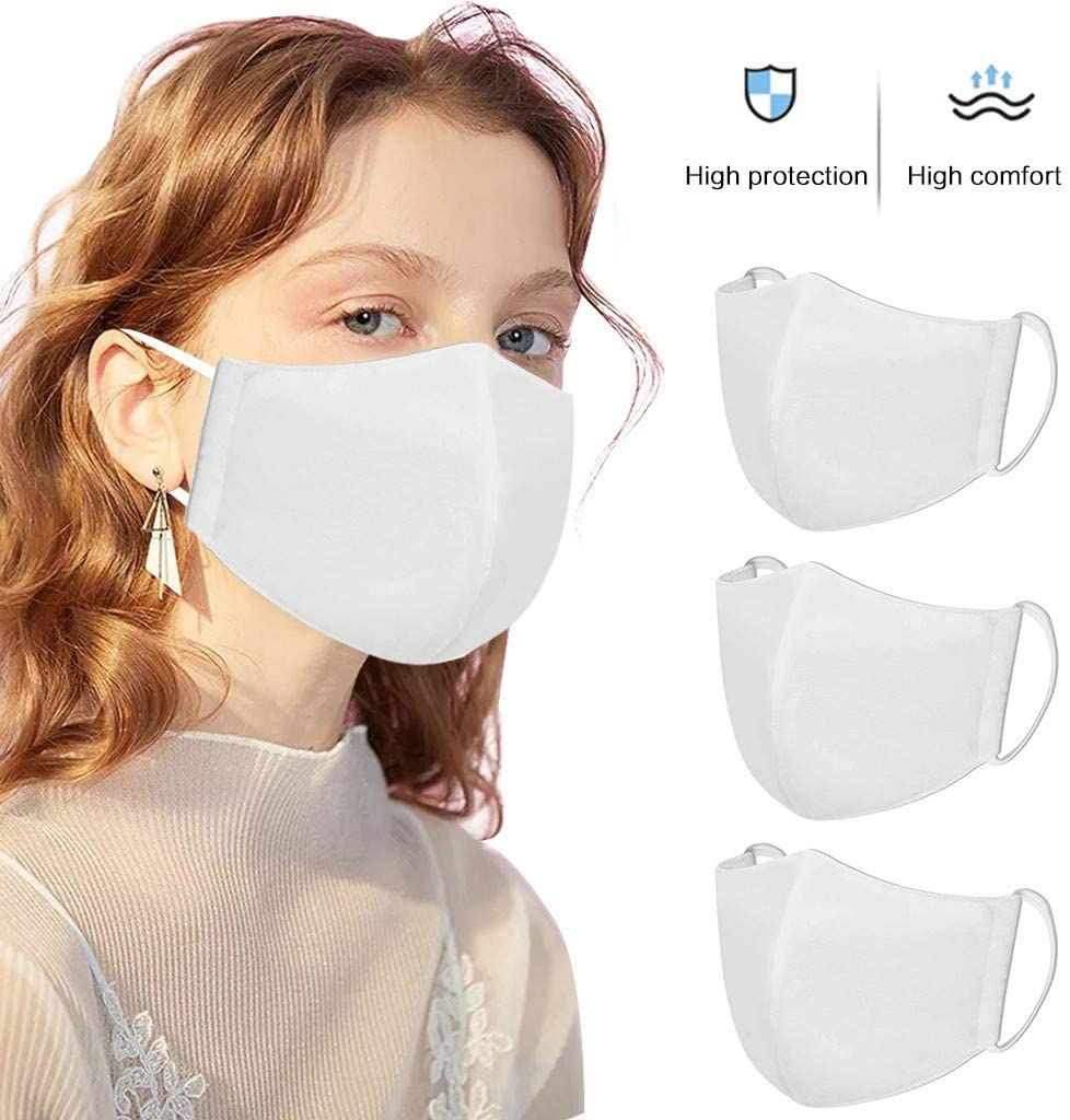 3pcs Fashion White Cotton Reuse Adult Face Coverings Dust Protective Reusable and Washable, Outdoor Unisex Riding Hiking Mouth Nose Protector