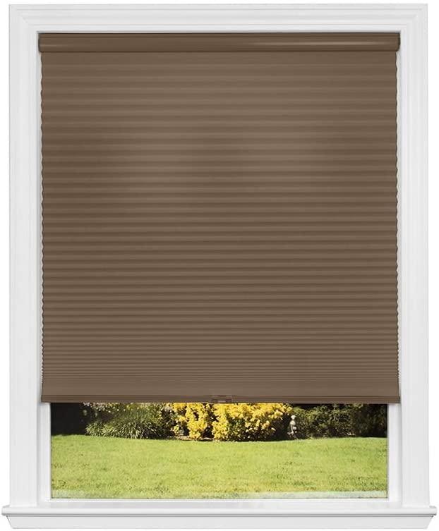 Artisan Select No Tools Custom Cordless Cellular Light Filtering Shades, Mocha, 19 in x 72 in