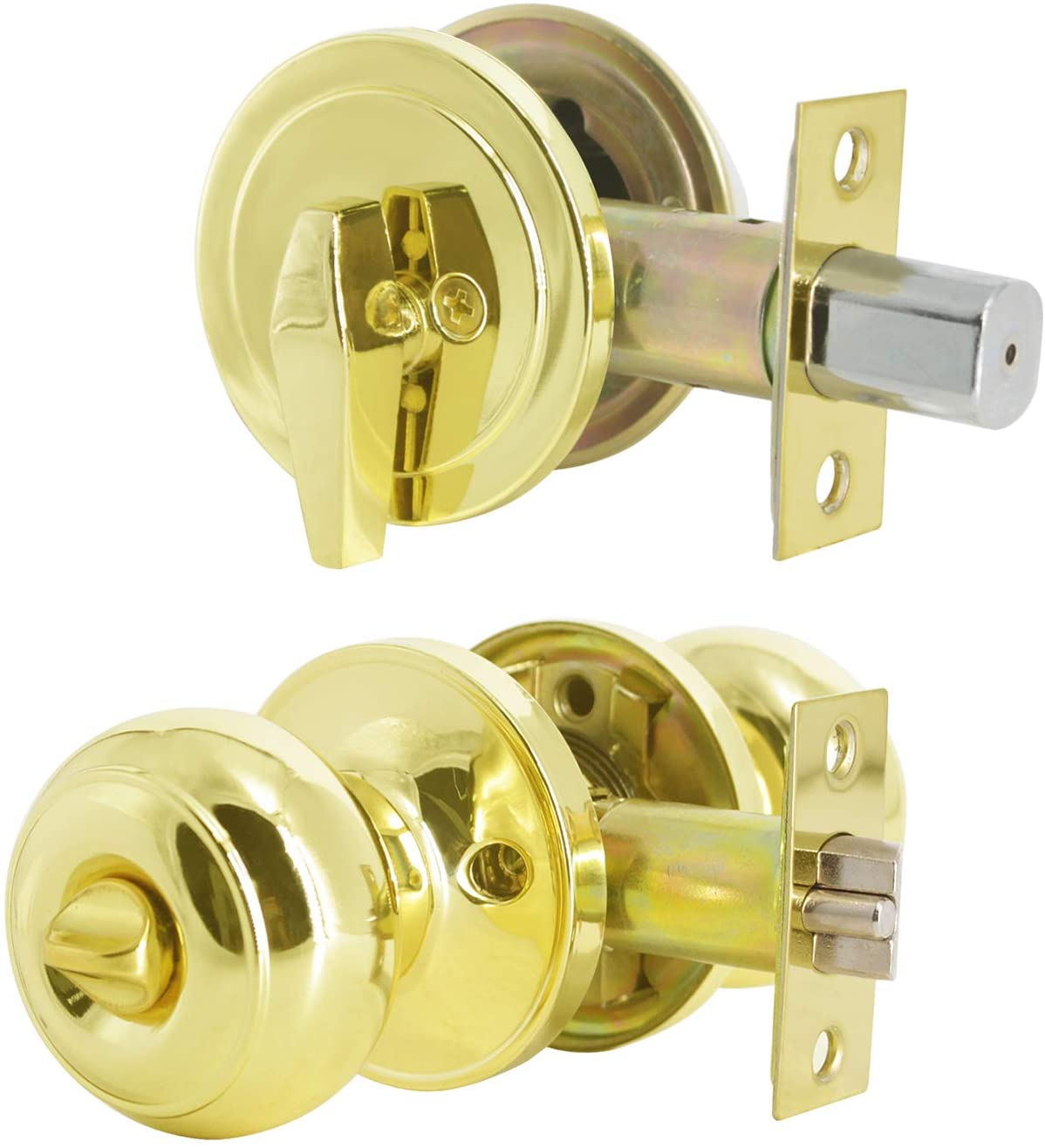 (2 Set) Keyed Alike Front Entry Door Knobs with Single Cylinder Deadbolts Combo Pack, Polished Brass,Combination Set Door Lockset Entrance Function, Flat Ball Door Locks with Key