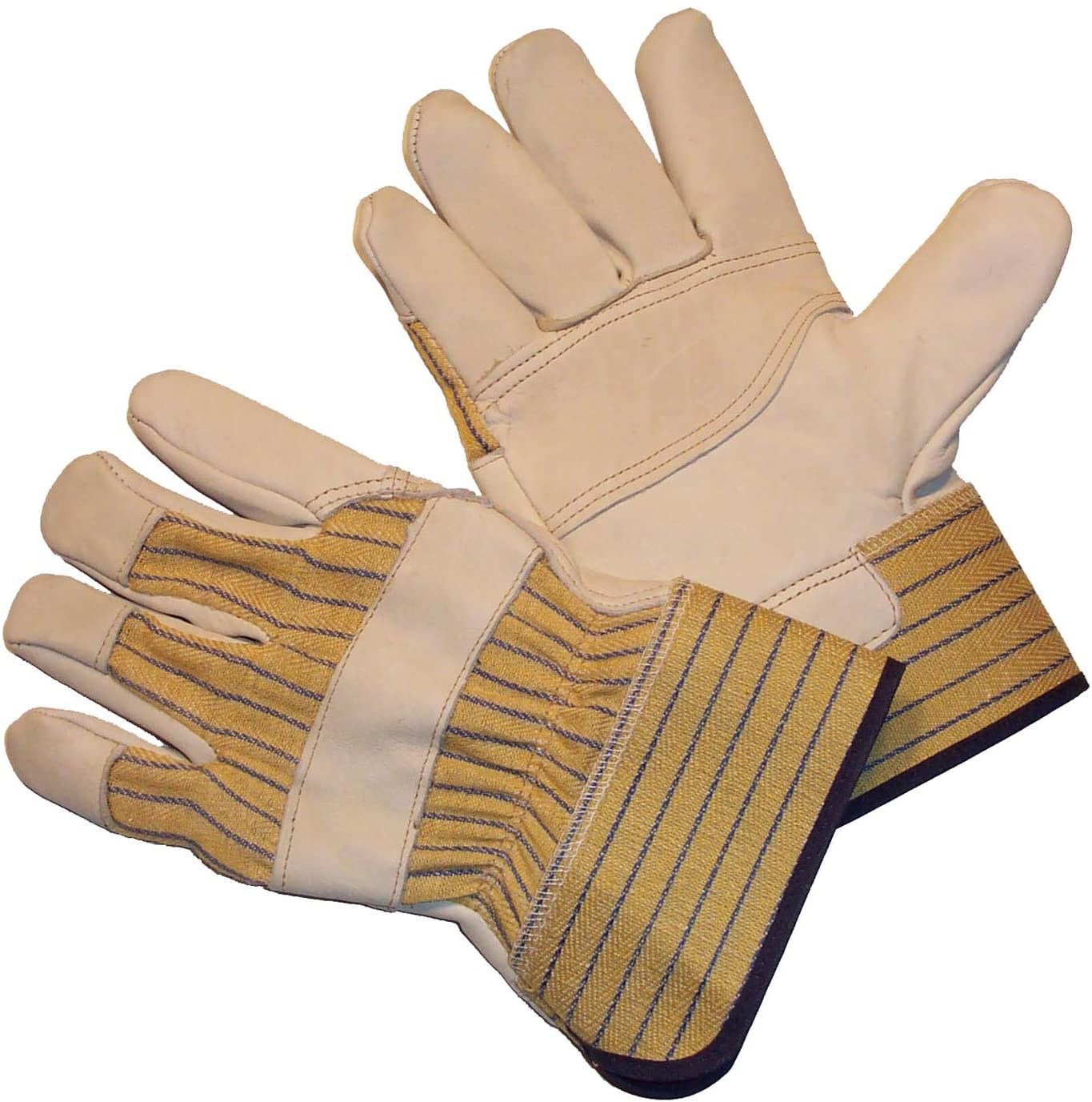 G & F 6431L-3 Premium Cowhide Leather Work Gloves, Drivers Gloves, with Double Patch Palm & Rubberized Safety Cuff, 3-Pair, Large