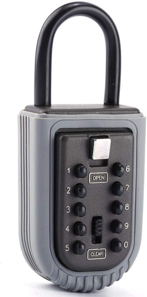 Key Safe Lock Box, Portable Waterproof Key Safe Box Lock 10 Digits Security Zinc Padlock Hide Keys Hang Door for Indoor & Outdoor