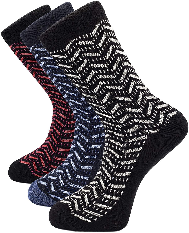 1Sock2Sock Men's Thin Dress Socks 3-pack Soft Cotton Colorful Patterns Socks Crew Length