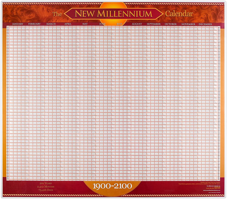 Laminated Wall Calendar Poster for Office Classroom or Study 1900-2100 calendario
