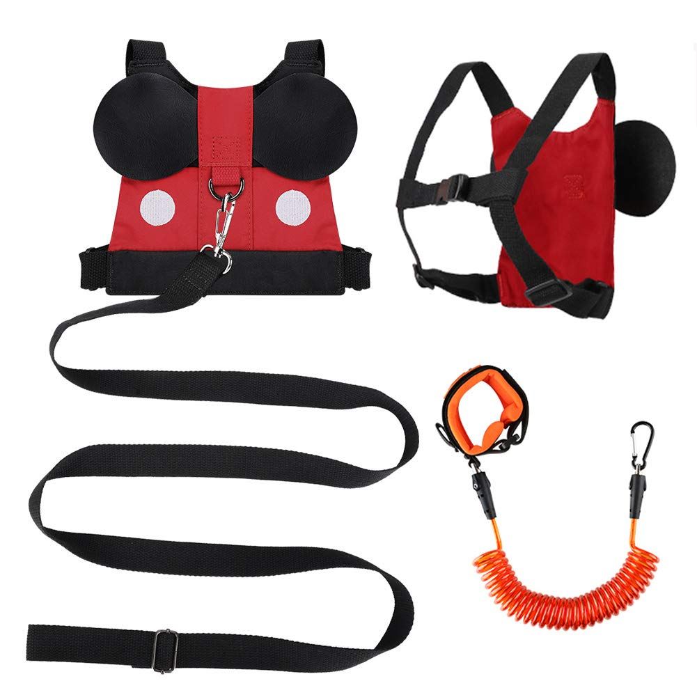 Accmor Toddler Leash Child Safety Harness + Baby Anti Lost Wrist Link, Cute Kid Harness Leash Assistant Walking Strap for 1-5 Years Boys and Girls to Zoo or Mall