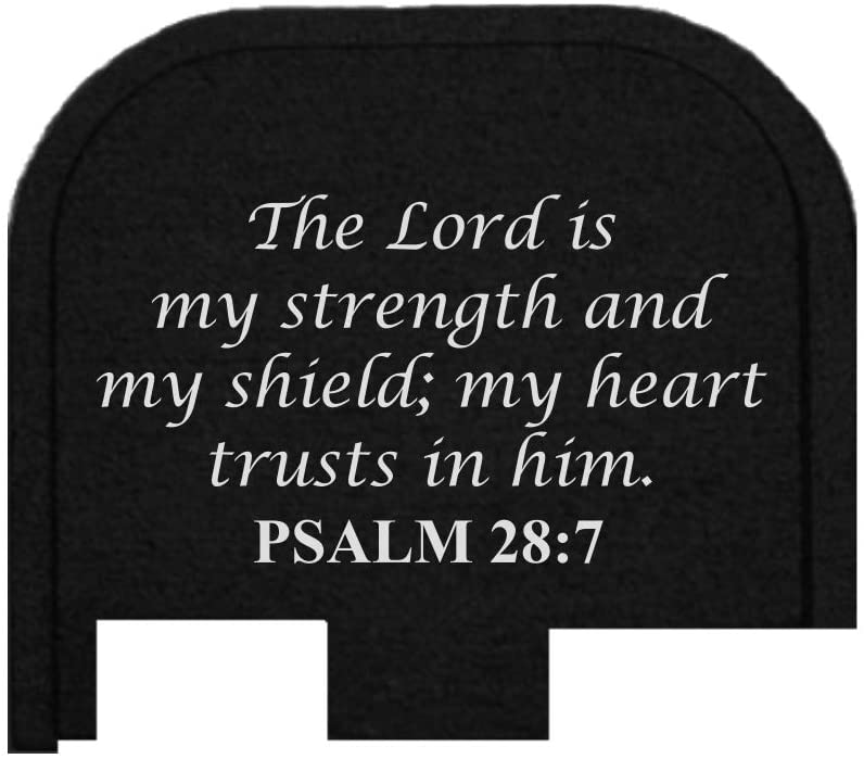 BASTION Laser Engraved Butt Plate, Rear Slide Cover Back Plate for Glock G43, G43X, and G48 9mm ONLY - Psalm 28:7